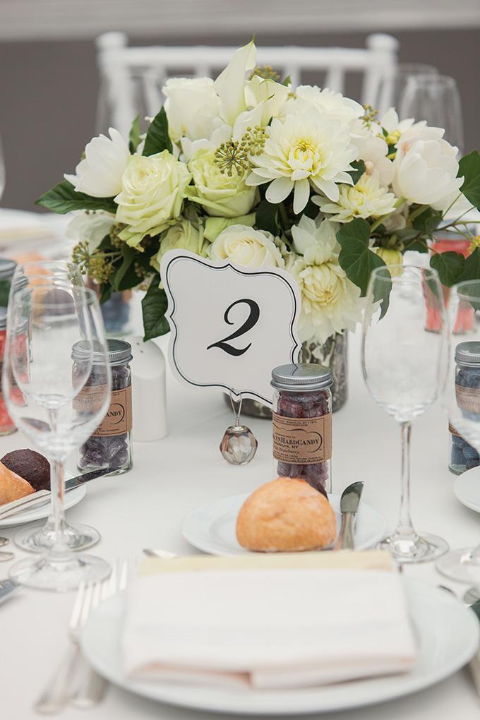 white centerpieces   Kimberly Salem Photography   Glamour & Grace