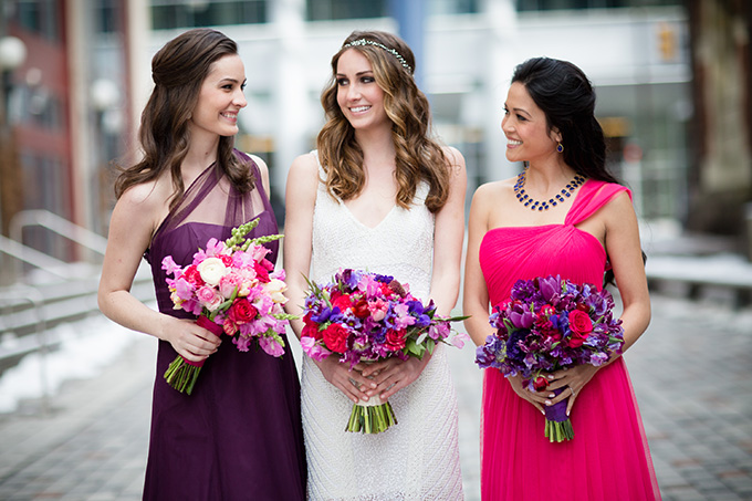 magenta and purple bridesmaids | Asya Photography | Glamour & Grace