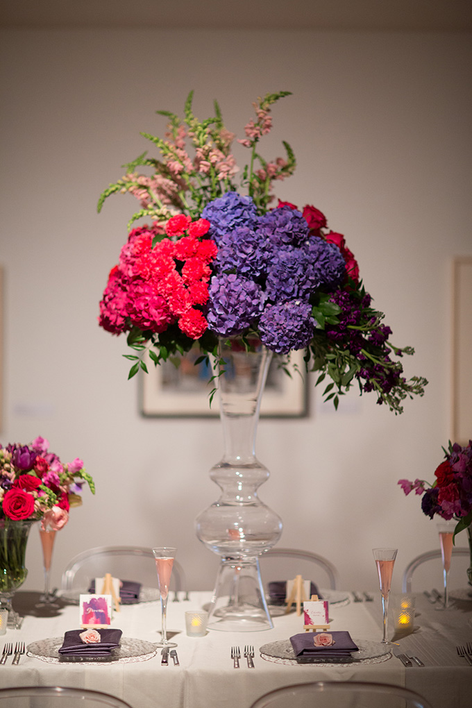 magenta and purple centerpiece | Asya Photography | Glamour & Grace