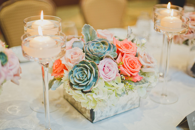 pink and succulent centerpieces by Flower Studio | Elyse Hall Photography | Glamour & Grace