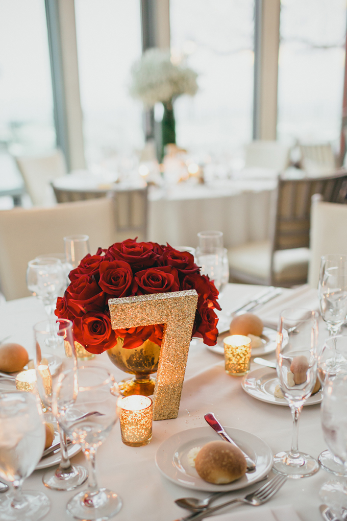 glam gold and red centerpieces   Cyrience Creative Studios   Glamour & Grace