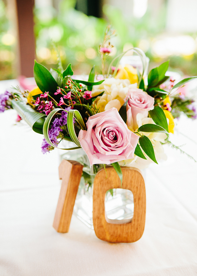 DIY colorful centerpieces | High Five For Love Photography | Glamour & Grace