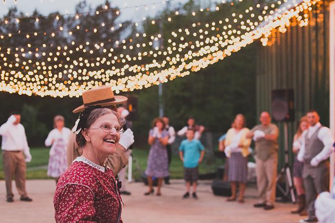 """Civil War Dance Caller"" teaching dances to guests | Jennifer Ling Photography | Glamour & Grace"