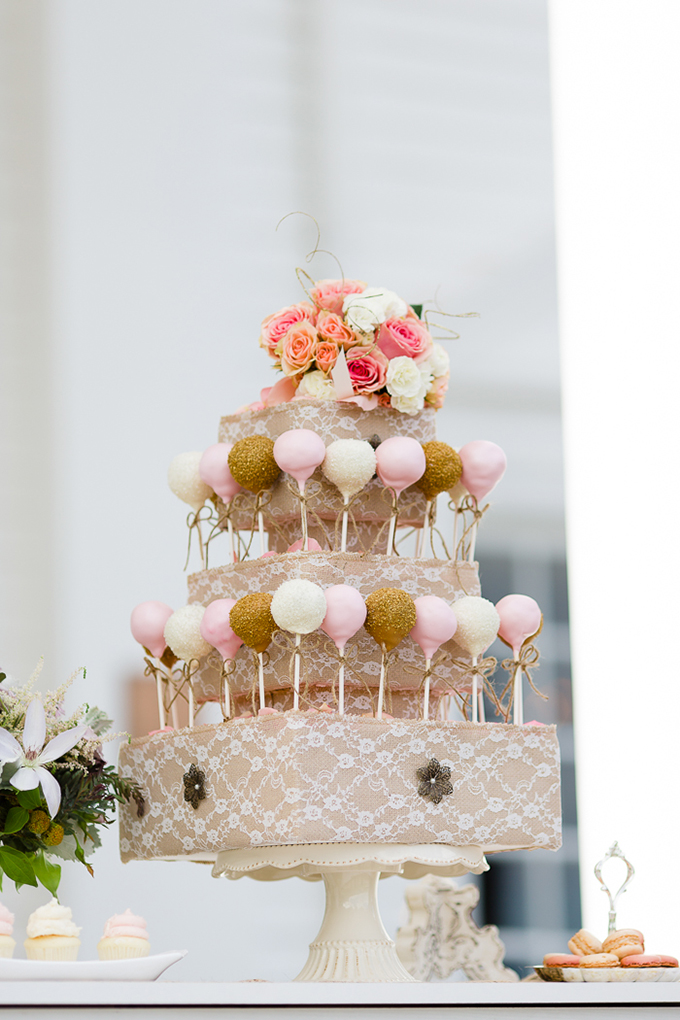 cake pop tower | Laura Smith Photography | Glamour & Grace