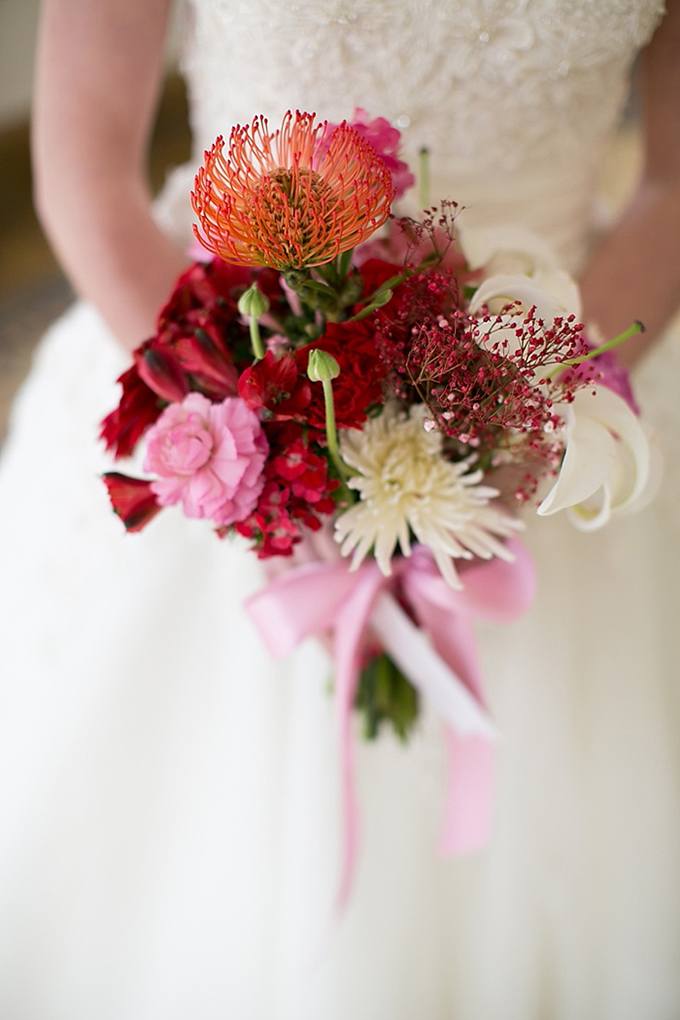 red and pink bouquet | Christy Tyler Photography | Glamour & Grace