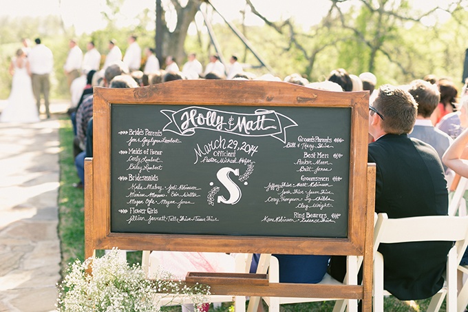 chalkboard program sign | Logan Howard Photography | Glamour & Grace