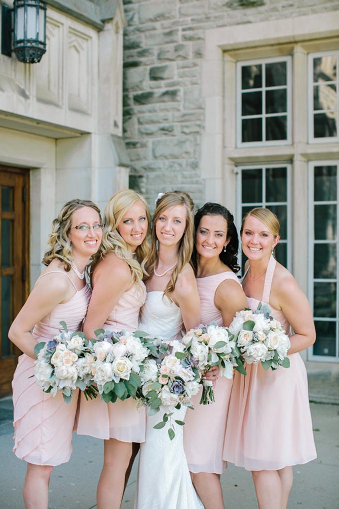 blush bridesmaids | Tamara Lockwood Photography | Glamour & Grace