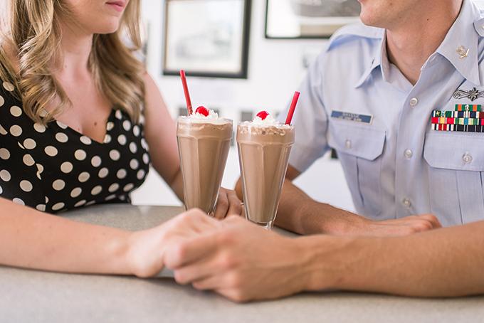 retro ice cream shop engagement | Addie Eshelman Photography | Glamour & Grace