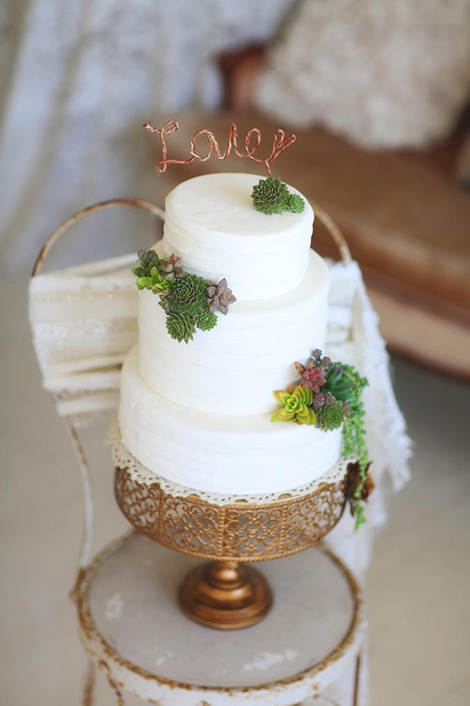 succulent cake   Melissa Enid Photography   Glamour & Grace