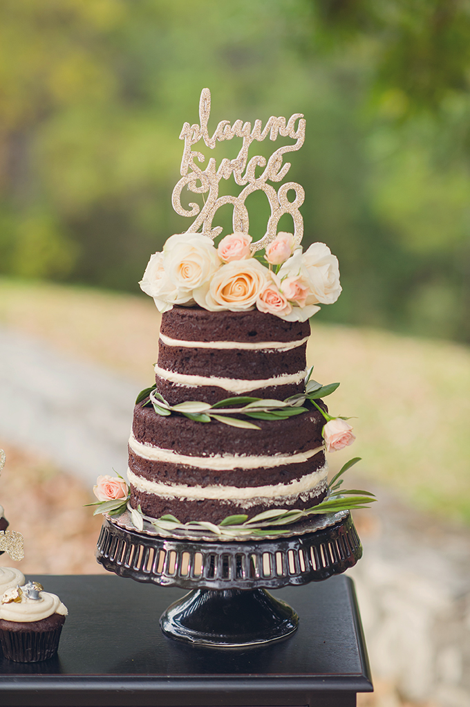 naked chocolate cake | Sun & Sparrow Photography | Glamour & Grace