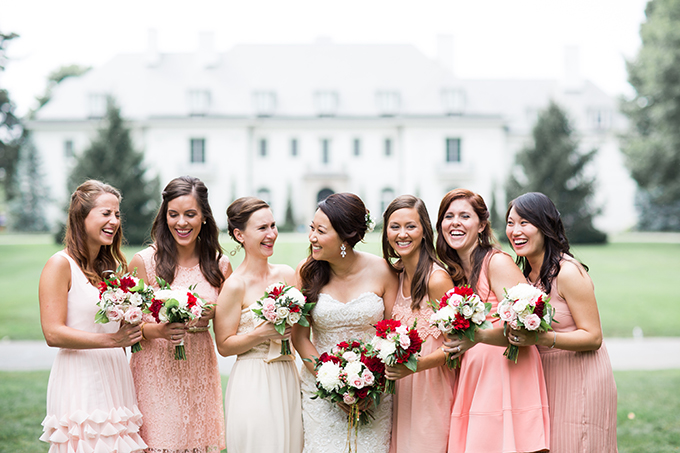 blush bridesmaids | Cory + Jackie | Glamour & Grace