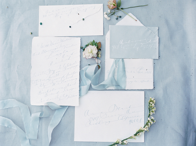 blue calligraphy invitation | Connie Whitlock Photography | Glamour & Grace