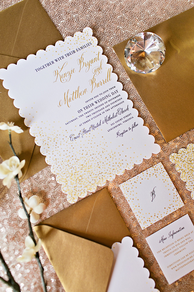 gold wedding invitations | Megan Vaughan Photography | Glamour & Grace