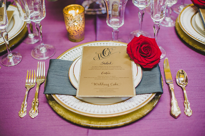 glam red and purple wedding inspiration | Elyse Hall Photography | Glamour & Grace