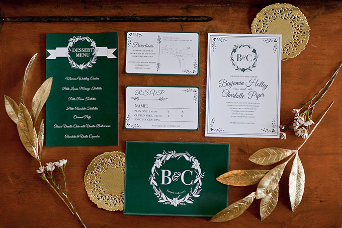 classic green wedding invitation | Jamie Zanotti Photography | Glamour & Grace