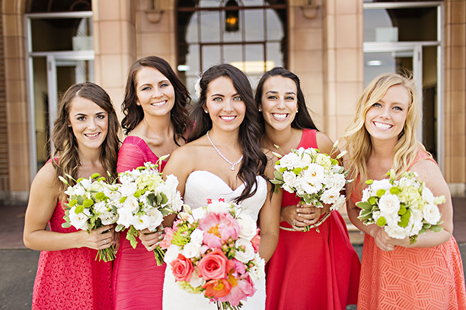 pink and coral bridesmaids | Courtney Bowlden Photography | Glamour & Grace