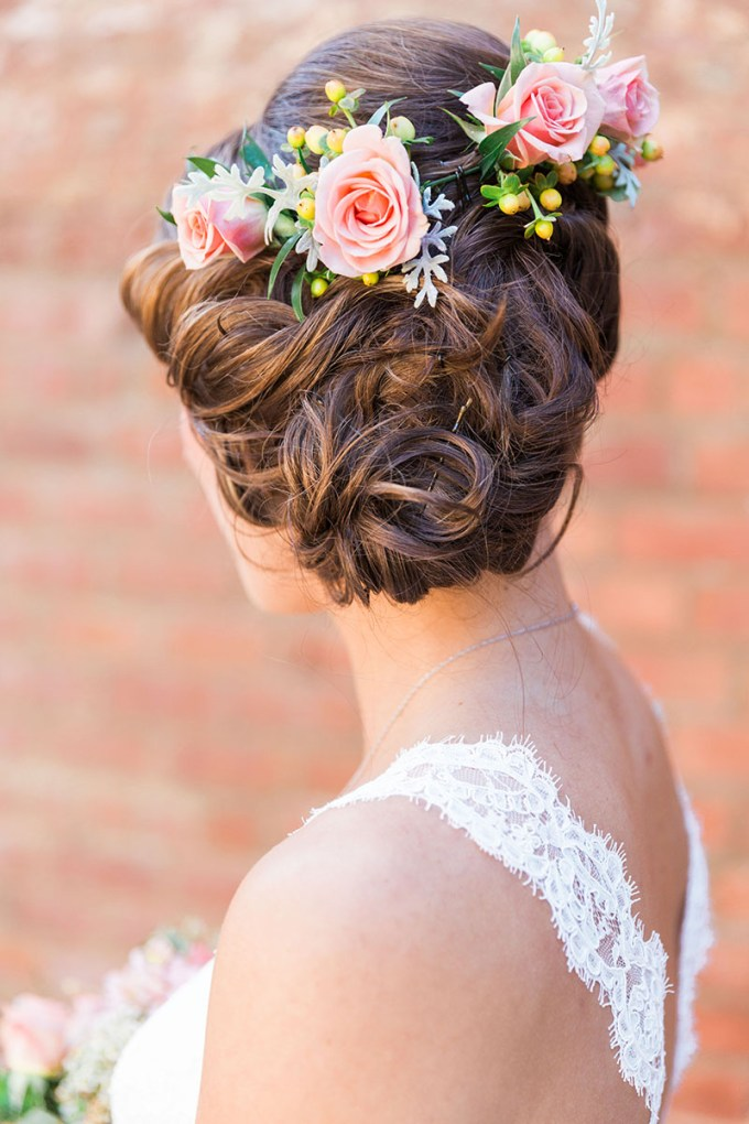relaxed updo with flowers | Devon Donnahoo Photography | Glamour & Grace