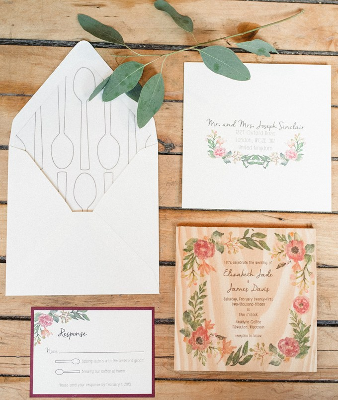 wooden floral invitation | Elizabeth Haase Photography | Glamour & Grace