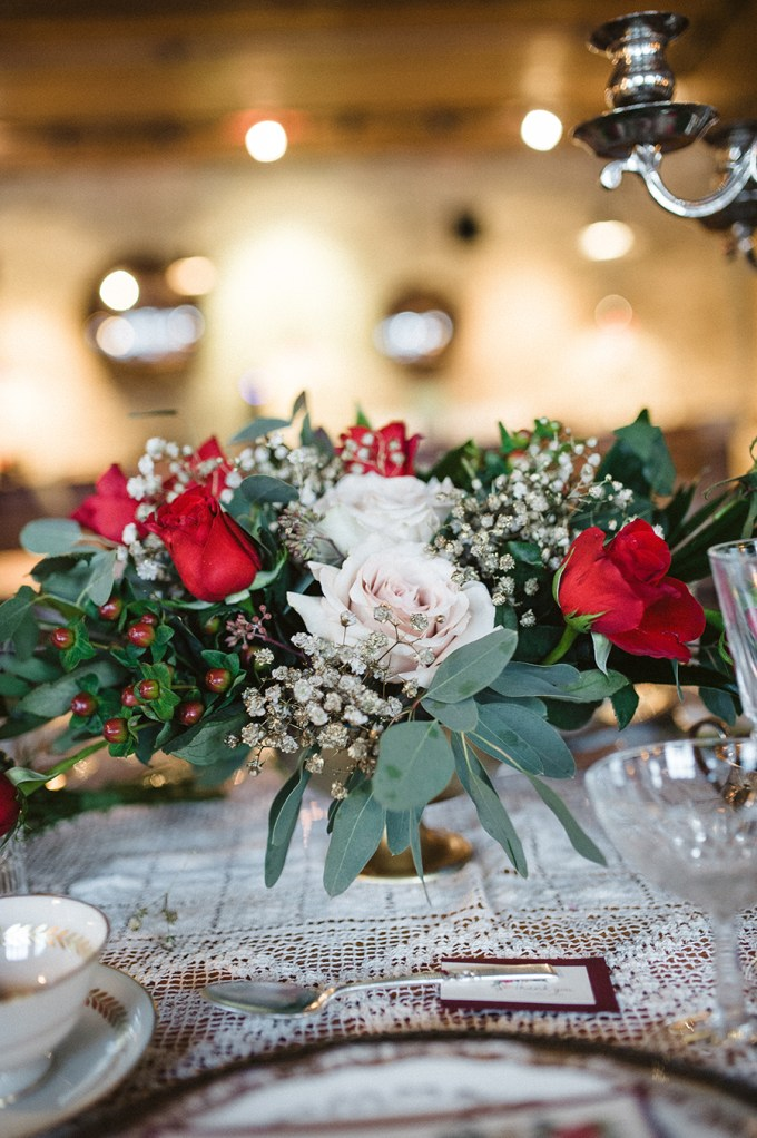 vintage red centerpieces | Elizabeth Haase Photography | Glamour & Grace