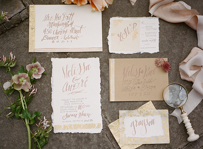 gold calligraphy invitation | Archetype | Glamour & Grace