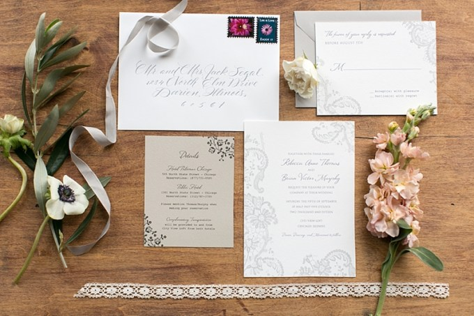 romantic wedding invitation | Christy Tyler Photography | Glamour & Grace