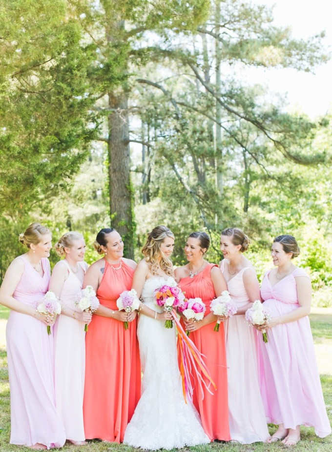 coral and blush bridesmaids | Kate Supa Photography  | Glamour & Grace