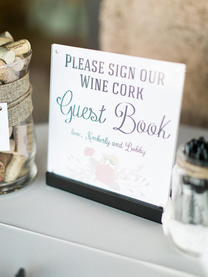 wine cork guest book | Rachel Solomon Photography | Glamour & Grace