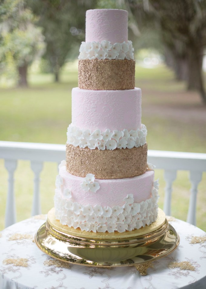 pink and gold cake | Ava Moore Photography | Glamour & Grace