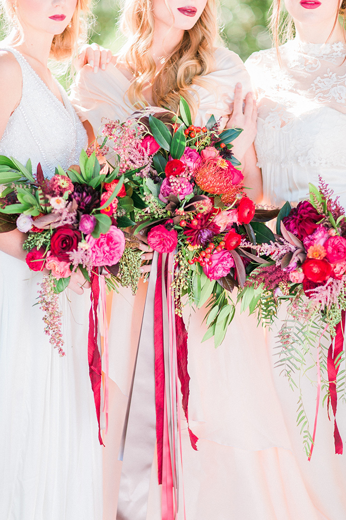 red and pink bouquets | Mikaela Marie Photography | Glamour & Grace
