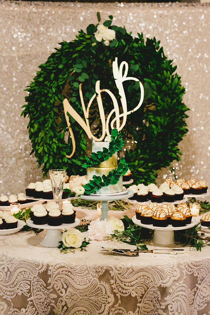 dessert table with monogram wreath | Milou + Olin Photography | Glamour & Grace