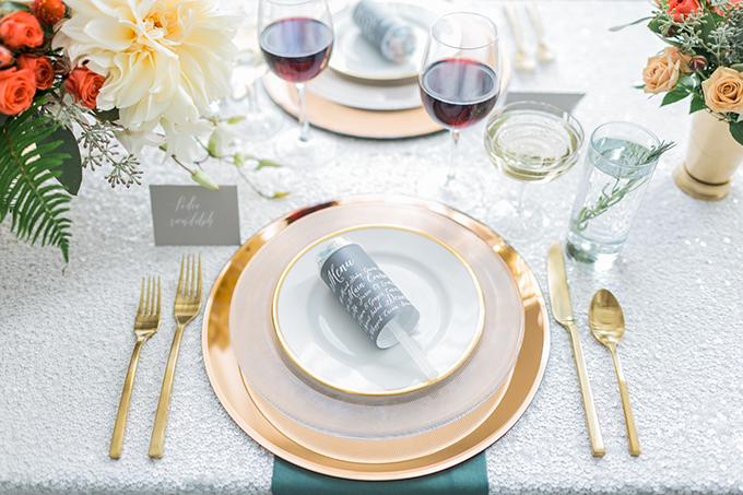 confetti popper menu | Alexis June Weddings | Glamour & Grace