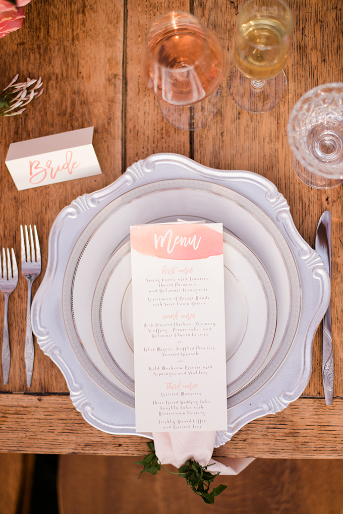 watercolor menu | Meghan Rose Photography | Glamour & Grace