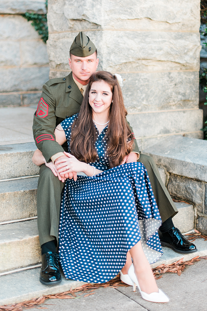 vintage Marine engagement session | Kathryn Ivy Photography | Glamour & Grace