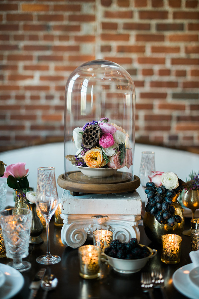 cloche centerpiece | Alexandra Elise Photography | Glamour & Grace