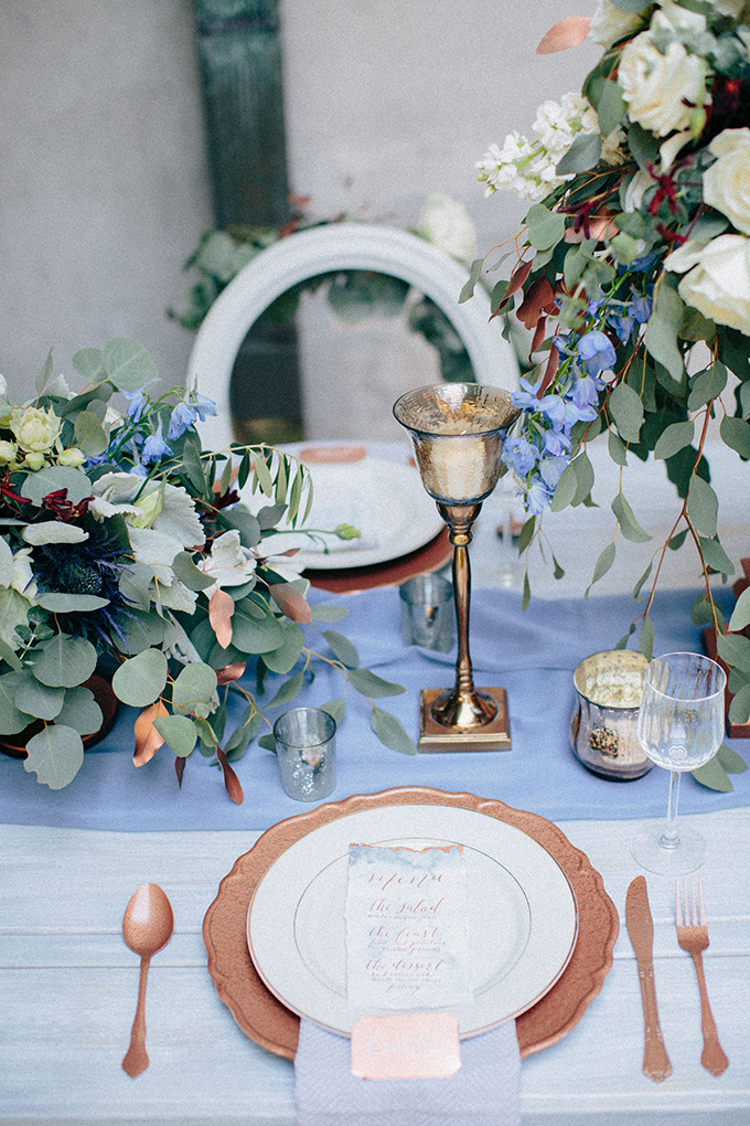romantic blue and copper wedding inspiration | Ais Portraits | Glamour & Grace