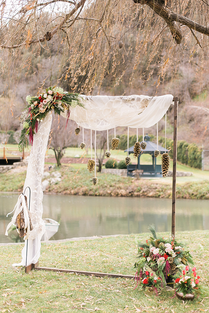 winter wedding ceremony backdrop | Whimsie Photo and Video | Glamour & Grace