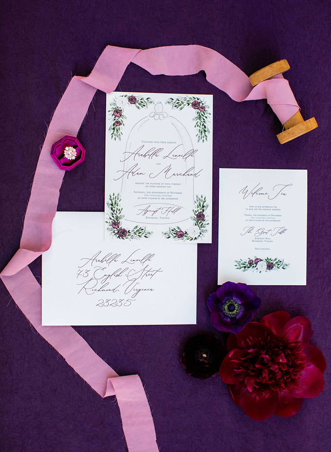 Beauty and the Beast wedding invitation from English Tea Paperie | Kara Powers Photography | Glamour & Grace
