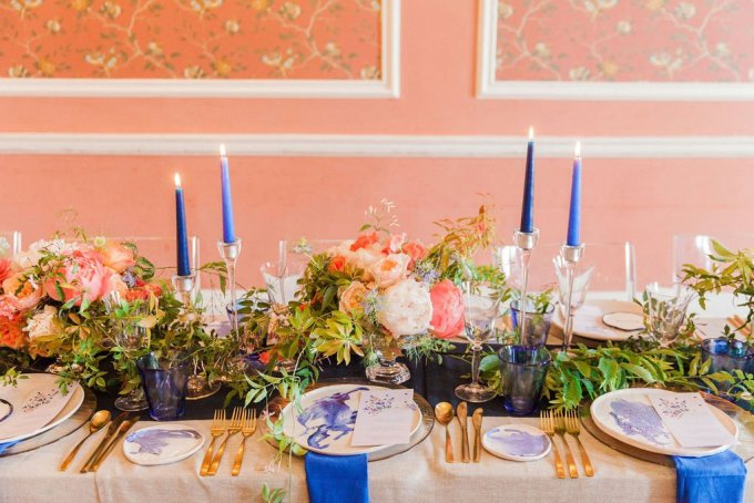 vibrant peach and blue wedding ideas | Maxeen Kim Photography | Glamour & Grace