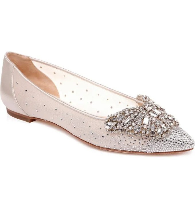 Badgley Mischka Embellished Pointed Toe Flat