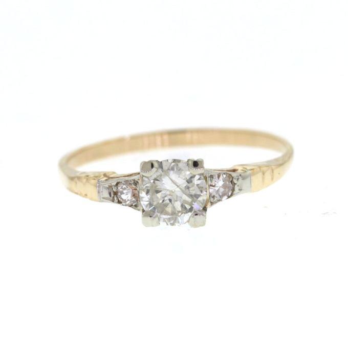 Mid Century Yellow Gold Diamond Ring