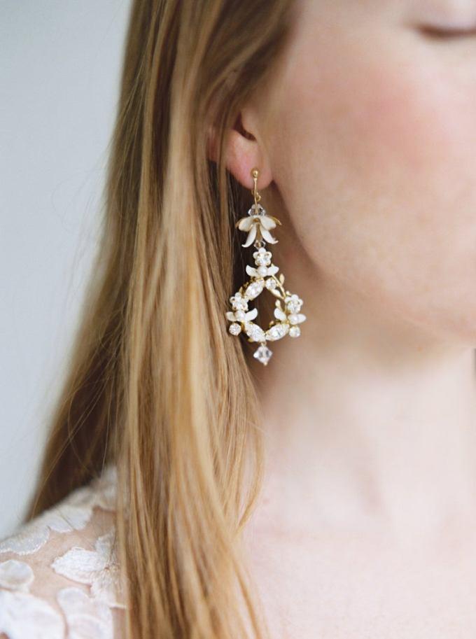 Floral Crystal Statement Bridal Earrings