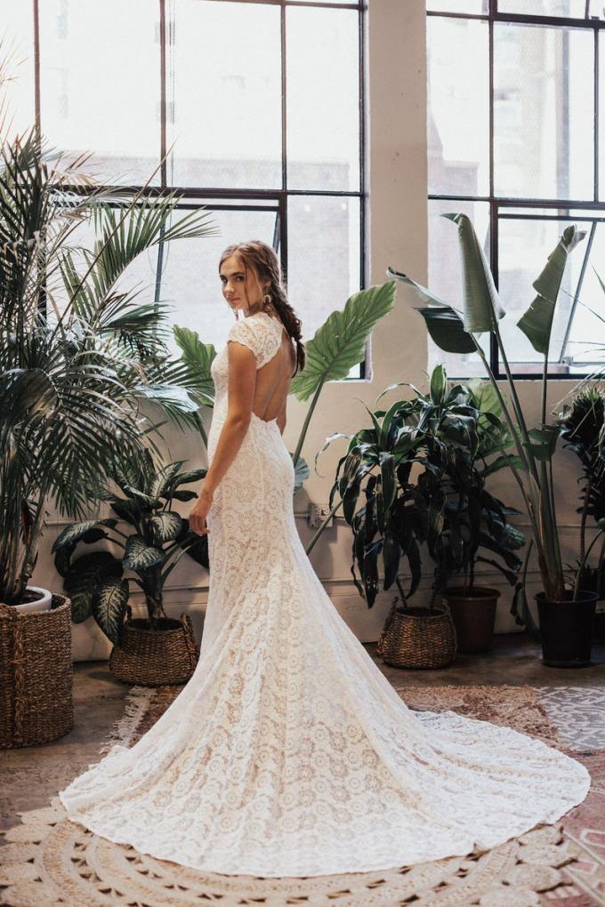 Ivory Lace Boho Backless Wedding Gown