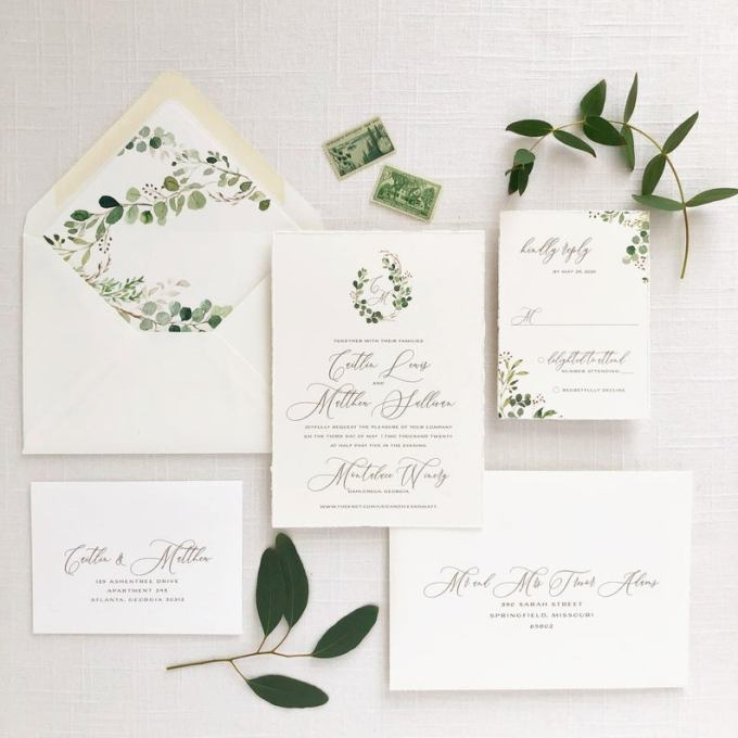 Greenery Crest Wedding Invitation
