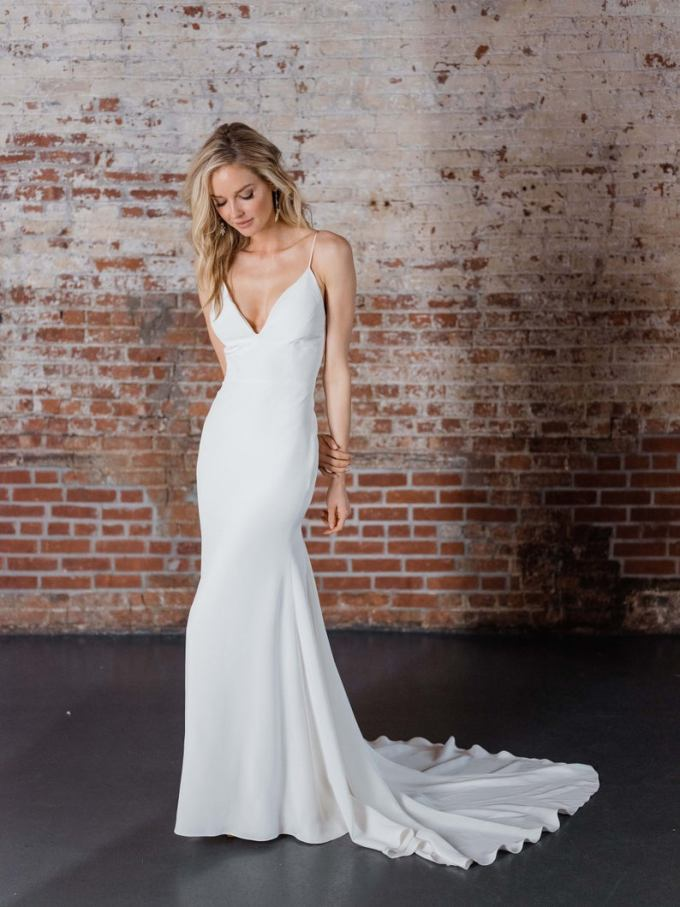Modern Crepe V-Neck Wedding Dress