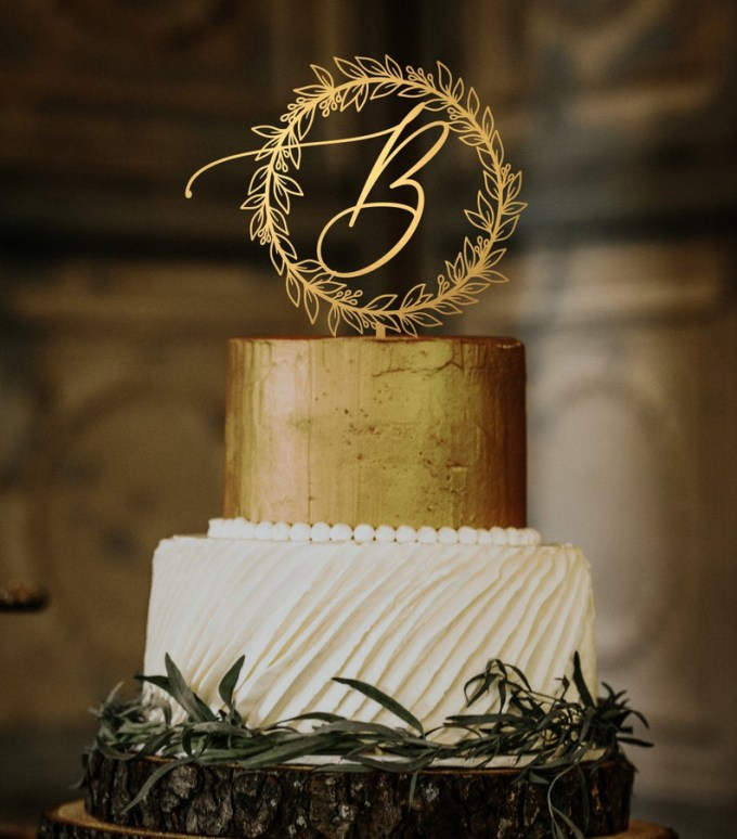 Monogram Wreath Wedding Cake Topper
