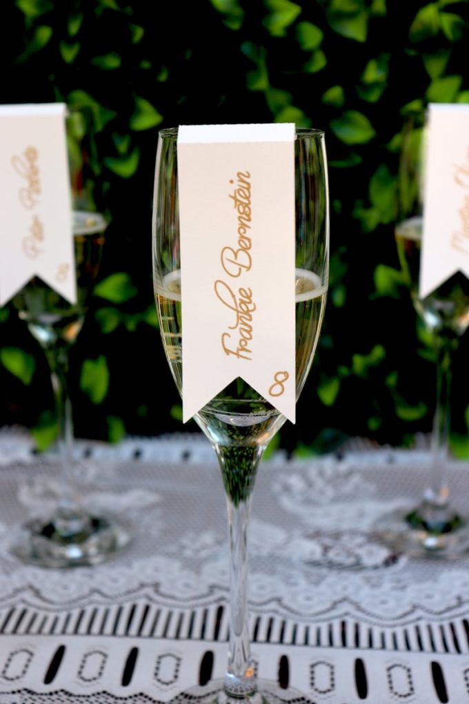 Scroll Champagne Escort Cards