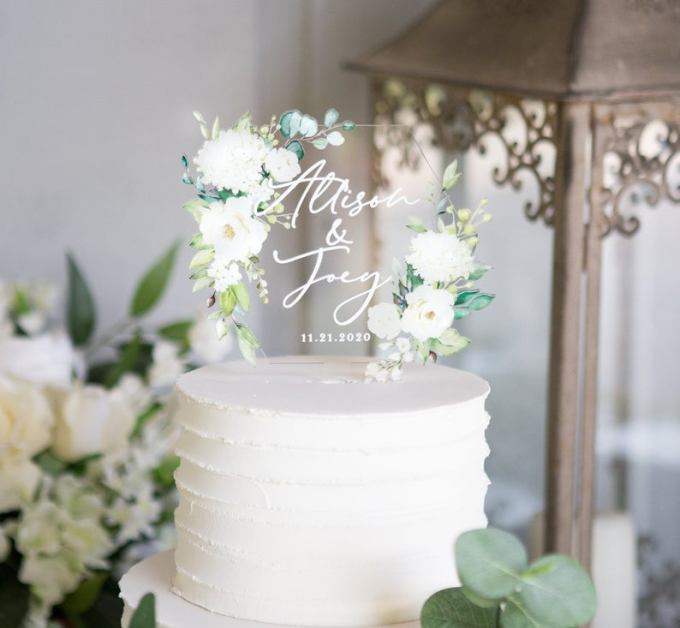 Acrylic Hexagon Wedding Cake Topper
