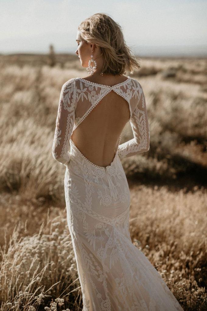 Long Sleeve Lace Boho Wedding Dress