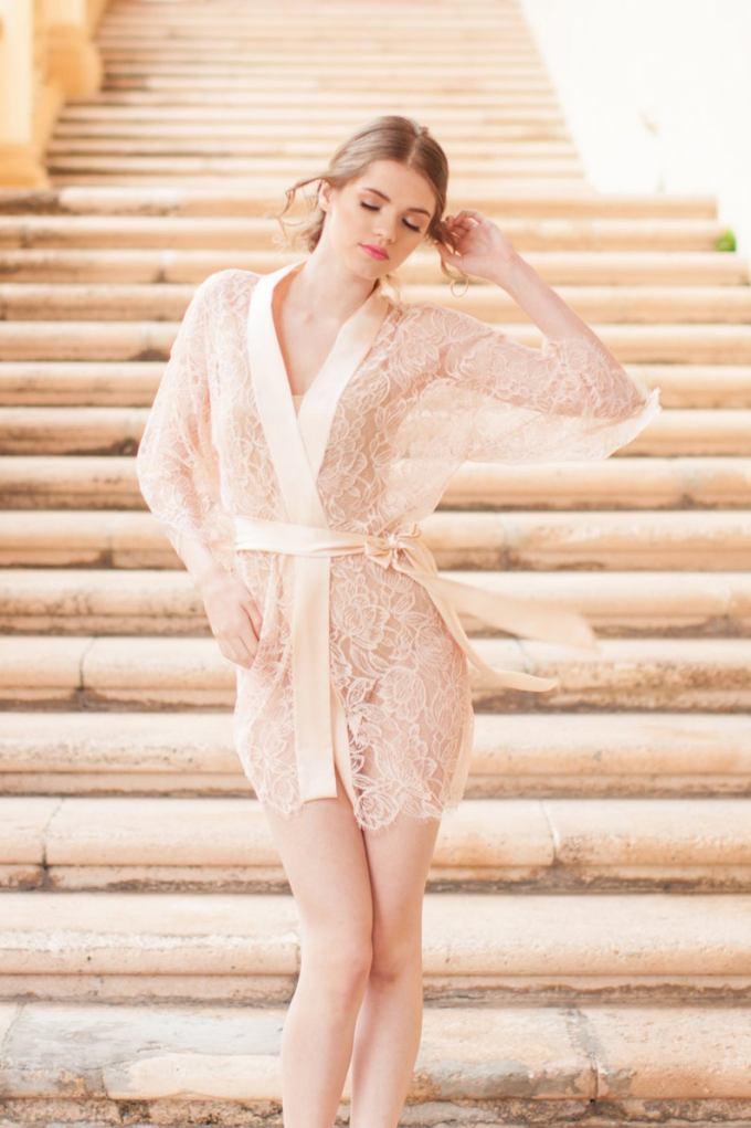 French Lace & Silk Bridal Kimono Robe