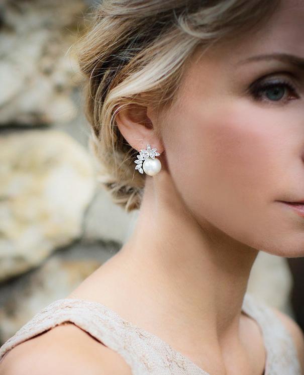 Vintage Style Pearl Wedding Earrings